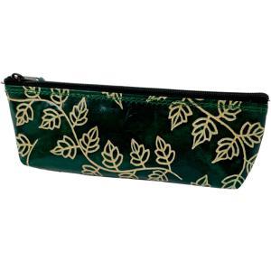 山羊革 ペンケース ツタ柄(緑)|asante