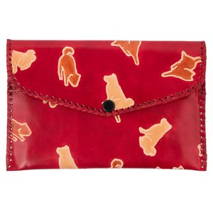 山羊革 財布パース 犬おさんぽ柄(赤) ヤギ革【フェアトレード】|asante