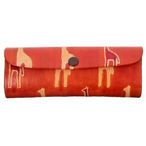 山羊革 メガネケース キリン柄(オレンジ) ヤギ革【フェアトレード】|asante