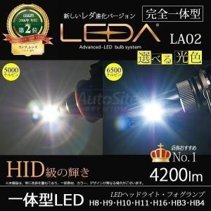 レダLA02 H8 H9 H10 H11 H16 HB3 HB4 LEDハイビーム フォグランプ LEDA 4200ルーメン 一体型 CREE LED 6500k/5000k 12v/24v オールインワン CREE LED