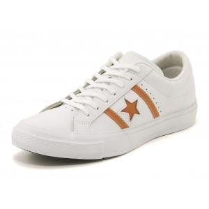 converse(コンバース) STAR & BARS LEATHER(スター&バースレザー) 1CK409 ホワイト/オレンジ|asbee
