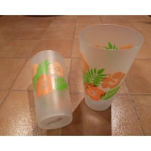 プラスティックカップ ハワイアン ハイビスカス 2個セット ハワイ雑貨 インテリア雑貨 hdm パーティグッズ|aseff