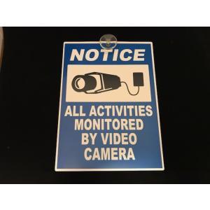 プレート NOTICE 吸盤付 防犯グッズ アメリカ雑貨 ガレージ オフィス カメラ <ネコポス対応商品>|aseff