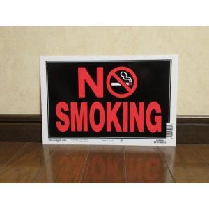 プレート NO SMOKING 新品 禁煙 アメリカ雑貨 標識 サイン インテリア ガレージ ダイナー オフィス 店舗用品 USA|aseff