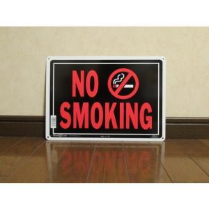 メタルサイン NO SMOKING 禁煙 新品 アメリカン雑貨 標識 インテリア ガレージ ディスプレー usdm hdm 看板 USA ブリキ|aseff