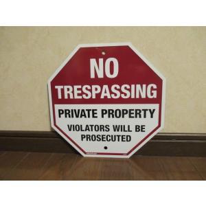 メタルサイン NO TRESPASSING 新品 立入禁止 アメリカ雑貨 標識 サイン インテリア ガレージ ディスプレー 警告 ブリキ|aseff