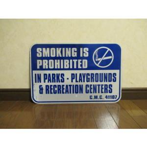 サイン SMOKING 青 USED品 アメリカ雑貨 標識 喫煙禁止 禁煙 インテリア ガレージ ダイナー 看板 アメリカン USA ブリキ|aseff