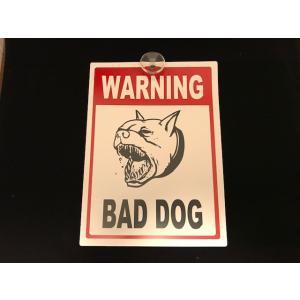 プレート BAD DOG WARNING 吸盤付き 猛犬注意 警告 ガレージ エクステリア <ネコポス対応商品>|aseff