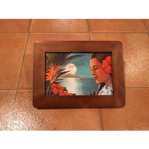 フォトフレーム 横A ハワイアン <ネコポス対応商品> ハワイ雑貨 インテリア ガレージ 写真立て ディスプレイ|aseff