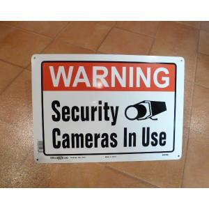 TIN SIGN メタルサイン WARNING セキュリティカメラ アメリカングッズ 現地仕入れ 看板 エクステリア ブリキ|aseff