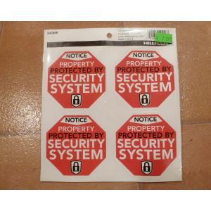 セキュリティシステム 4枚セット デカール USA アメリカ雑貨 ステッカー ハワイ 雑貨 <ネコポス対応商品>|aseff