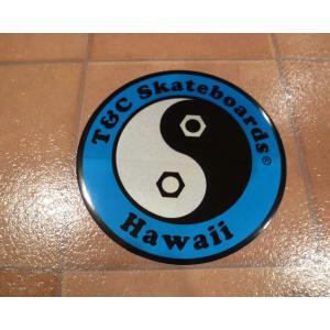 デカール T&C タウン&カントリー 丸 L ブルー アメリカ雑貨 ステッカー ハワイ 雑貨 <ネコポス対応商品>|aseff