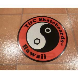 デカール T&C タウンアンドカントリー 丸 L レッド アメリカ雑貨 ステッカー ハワイ 雑貨 <ネコポス対応商品>|aseff