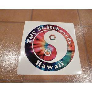 デカール T&C タウン&カントリー 丸 L レインボー アメリカ雑貨 ステッカー ハワイ 雑貨 <ネコポス対応商品>|aseff