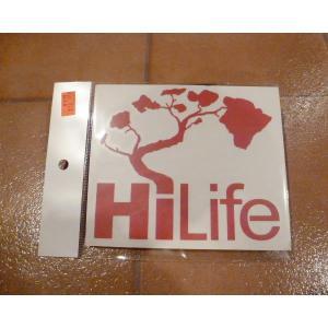<ネコポス対応商品> デカー HiLife ハイライフ レッド アメリカ雑貨 ステッカー ハワイ 雑貨|aseff
