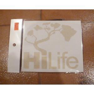 <ネコポス対応商品> デカール HiLife ハイライフ ゴールド アメリカ雑貨 ステッカー ハワイ 雑貨|aseff