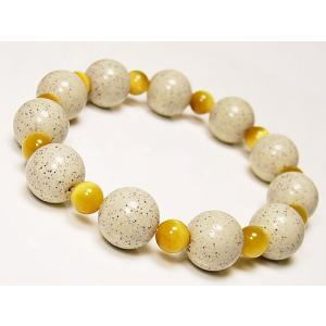 北投石12mm超大玉×ゴールドタイガーアイ/天然ラジウム鉱石/ブレスレット|ashiya-rutile