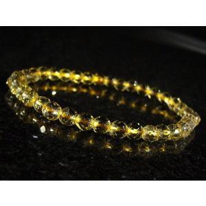 ゴールデン水晶/ゴールデンヒーラー/ゴールデンクォーツ/ミラーボールカット/天然石パワーストーンブレスレット5mm/1点もの|ashiya-rutile