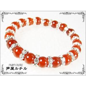 赤メノウ×ロンデル飾り/パワーストーン8mm ashiya-rutile