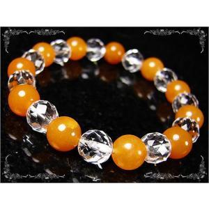 オレンジクォーツァイト×ラウンドカット水晶8mm/パワーストーンブレスレット|ashiya-rutile