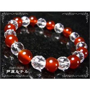 パワーストーンデザインブレスレット/赤瑪瑙x水晶|ashiya-rutile