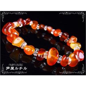 良質カーネリアン×ボタンカット水晶/天然石パワーストーンブレスレット/3つ星|ashiya-rutile