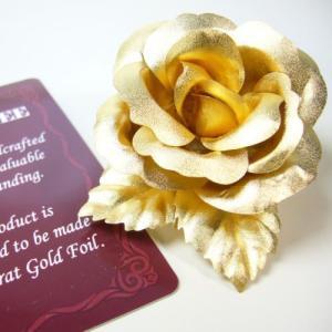 2万7,778円税別→83%OFF 送料無料 純金の薔薇バラの花 ブローチ コサージュ 髪飾り 金運のオブジェ |ashiya-rutile