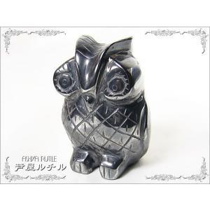 ★完売御礼★ヘマタイト/フクロウ彫刻の置物|ashiya-rutile