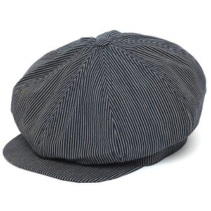 Stevenson Overall Co.(スティーブンソンオーバーオール) Newsboy Cap Indigo Stripe|ashoesselect