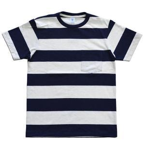 ベルバシーン ボーダー ポケット Tシャツ WIDE BORDER POCKET S/S TEE WHITE×NAVY|ashoesselect