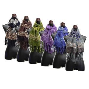 編み込みと飾り糸が上品な大人の印象♪ 差し色にピッタリの明るいニットマフラー / 送料168円 / CH-S-19|asian-dream-net