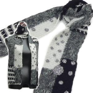 色んな編み方をしたニットを組み合わせお花を散りばめたパッチワーク風マフラー / 送料84円 / HL-303|asian-dream-net