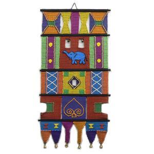 中心に象をあしらったアジアンな手織りタペストリー!ベルが付いていてドアベルにも / インド製 / I-TA-8|asian-dream-net