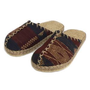 ナガ族の織り布を使用したエスニックなかわいらしさ!優しい履き心地の民族サボサンダル / T-SH-K5|asian-dream-net