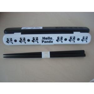 白黒バンター柄お箸セット。上野動物園赤ちゃん熊猫パンダー[香香]名付け記念。数量限定。在庫限り。|asian-super