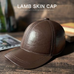 キャップ 帽子 メンズ レザーキャップ 本革 シープスキン 羊革|asianarts