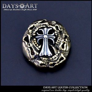 コンチョ シルバー925 ブラス ネジ式 パーツ ボタン カスタム 真鍮 髑髏 スカルクロス ドクロ|asianarts
