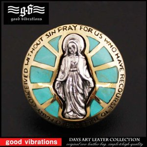 コンチョ シルバー925 ネジ式 パーツ ボタン カスタム 聖母マリア ブラス ターコイズ インレイ|asianarts
