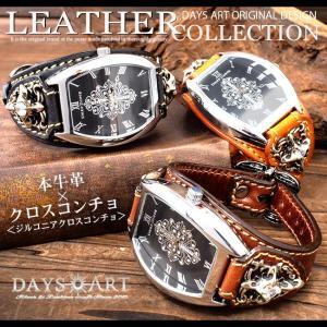 時計 メンズ 腕時計 レザーブレスレットウォッチ 牛革ベルト トノーフェイス イタリアンレザー ジルコニアクロスコンチョ|asianarts