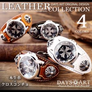 時計 メンズ 腕時計 レザーブレスレットウォッチ 牛革ベルト イタリアンレザー クロスデザインフェイス サドルレザー|asianarts