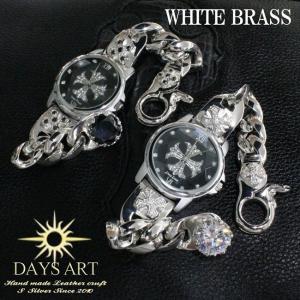 時計 メンズ 腕時計 ブラスチェーンクリップブレスレットウォッチ クロス装飾 クロス文字盤 大粒ジルコニア シルバーコー|asianarts
