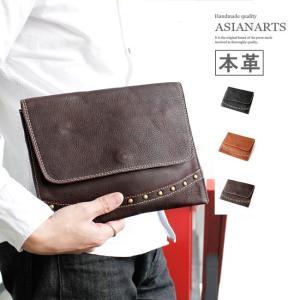 クラッチバッグ レザー メンズ 本革 レザーハンドバッグ セカンドバッグ タブレットケース カーフスキン スタッズ|asianarts