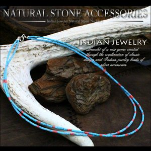 ネックレス メンズ レディース シルバーパーツ 2連天然石ビーズネックレス ブルーターコイズネックレス おしゃれ|asianarts