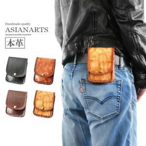 シガレットケース レザー 本革 タバコケース 硬質 アンティーク 電子タバコケース ベルトループ付き|asianarts