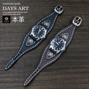 腕時計 硬質牛革ベルト シルバーコンチョ トライバル レザーブレスレットウォッチ シルバー925留め具 ブラック|asianarts