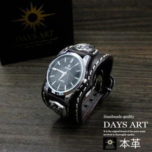時計 メンズ 腕時計 レザーブレスレットウォッチ 硬質牛革ベルト シルバーコンチョ トライバル|asianarts