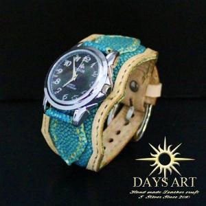時計 メンズ 腕時計 レザーブレスレットウォッチ 牛革ベルト スティングレー エメラルドフラット加工|asianarts