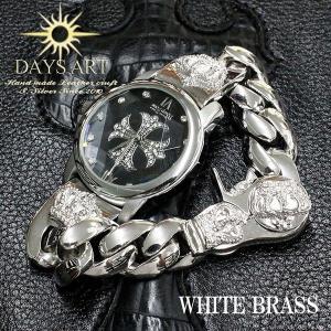 時計 メンズ 腕時計 ブレスレットウォッチ ブラスチェーンクリップ クラウン 王冠 クロス文字盤|asianarts