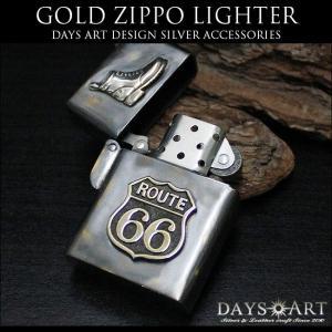 ZIPPO ライター オイルライター ブラス アーマージッポー ルート66 バイカー ブーツ アンティーク加工 good vibrations|asianarts