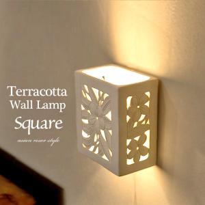 送料無料 壁掛け照明 ウォールランプ テラコッタ スクエア ジュプン リゾート壁掛けアジアンランプ LAM-0012-SQ|asianlamp-cahaya